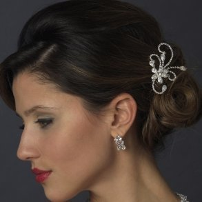 Clear Floral Rhinestone Side Comb