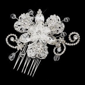 Clear Rhinestone Accented Floral Wedding Comb
