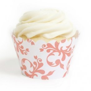 Coral Filigree Cupcake Wrappers - Pack of 12