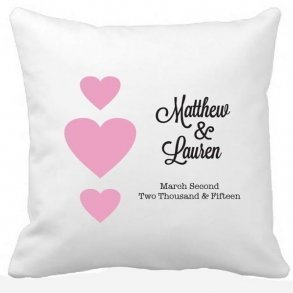 Couples First Names With Hearts Wedding Pillow