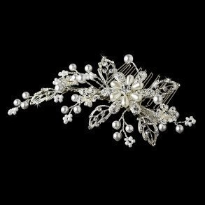 Couture Floral Crystal & Pearl Bridal Comb