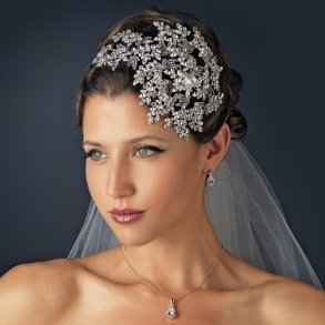 Couture Vintage Leaf Side Accented Bridal Headband