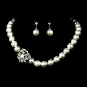 Crystal Cluster Pearl Necklace Set