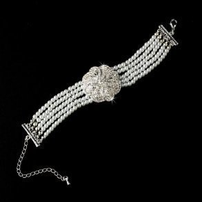 Crystal Encrusted Flower Bracelet