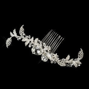Silver Crystal Leaf Side Comb