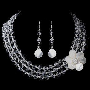 Crystal & Mother Of Pearl Flower Necklace Set