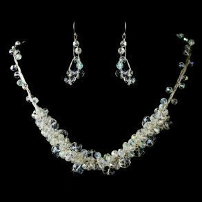 Crystal Silver AB Necklace & Earrings Set