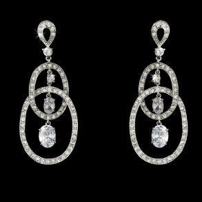 Cubic Zirconia Double Loop Earrings