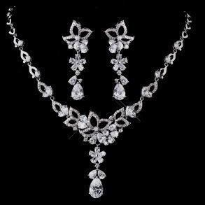 Cubic Zirconia Encrusted Necklace & Earring Set