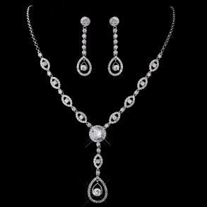 Cubic Zirconia Gemstone Necklace Set