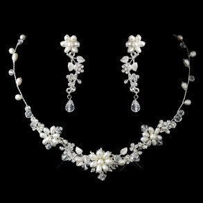 Dainty Silver & Freshwater Pearl Floral Necklace Set