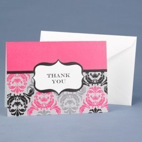 Damask Fuchsia & Black Thank You Cards - Pack of 50
