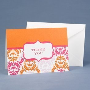 Damask Orange & Fuchsia Thank You Cards - Pack of 50