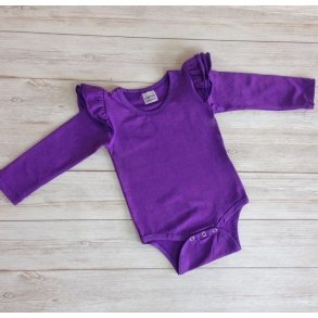 Purple Long Sleeve Flutter Onesie