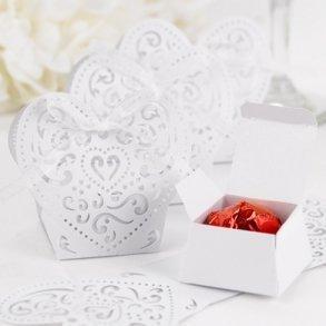 Decorative White Heart Favour Boxes