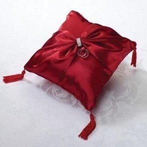 Diamond Red Wedding Ring Pillow