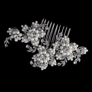 Diamond White Pearl & Rhinestone Floral Bridal Hair Comb