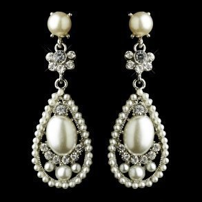 Diamond White Pearl Teardrop Earrings