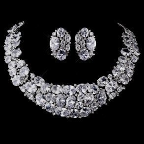 Dramatic Silver CZ Necklace Set