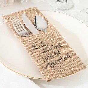 Eat Drink & Be Married Burlap Cutlery Holders