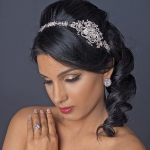 Embellished Rhinestone Floral Ribbon Bridal Headband