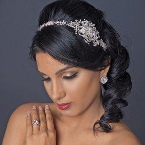 Embellished Rhinestone Floral Ribbon Bridal Headband