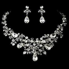 Enchanting Silver Crystal Necklace Set