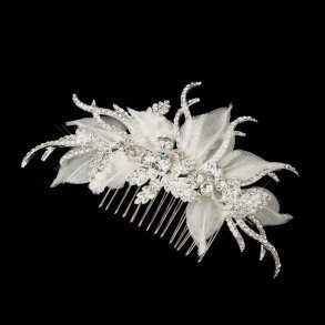 Silver Ivory Fabric Rhinestone Side Comb