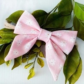 Fairy Floss Pink Floral Baby Bow Headband or Clip
