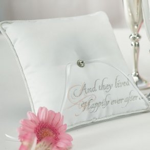 Fairytale Dreams White Wedding Ring Pillow