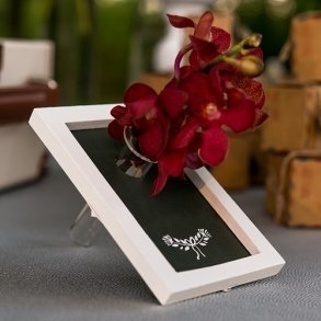 Miniature Framed Chalkboard With Glass Flower Holder
