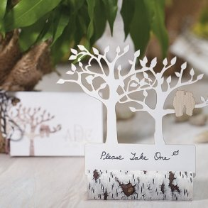 Faux Birch Log Card Holder - Pack of 6