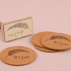 Feather Whimsy Personalised Rubber Wedding Stamp