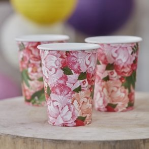 Floral Boho Paper Party Cups