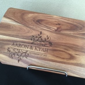 Floral Couple Personalised Timber Chopping Board