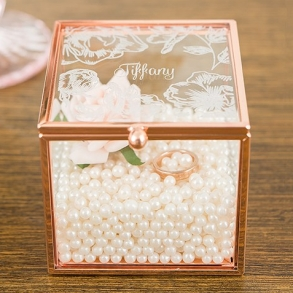 Floral Etched Personalised Rose Gold Glass Square Jewellery Box