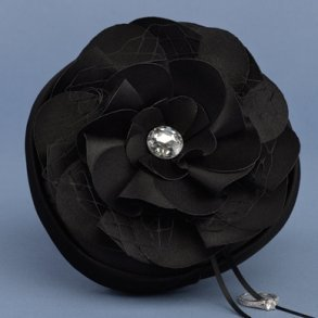 Floral Fantasy Black Petite Ring Pillow