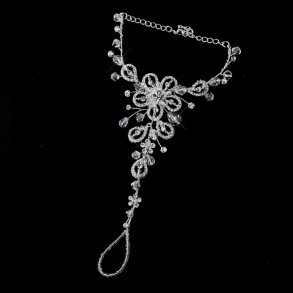 Silver Crystal Sparkling Floral Foot Jewellery