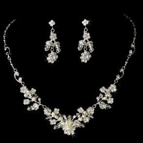 Floral Pearl & Crystal Wedding Jewellery