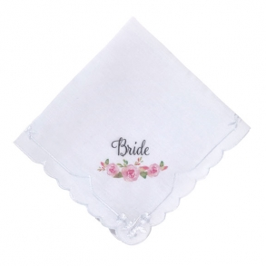Pink Floral Watercolour Bride Wedding Hankie