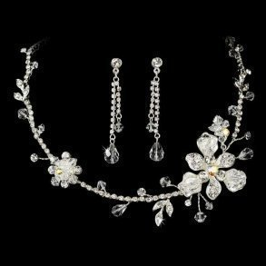 Silver Flower Bridal Jewellery Set