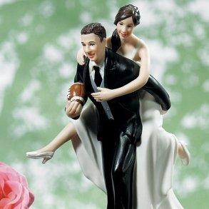 Playful Football Wedding Cake Topper
