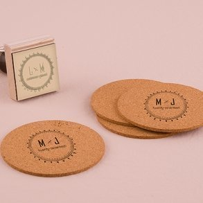 Free Spirit Circle Monogram Personalised Rubber Wedding Stamp