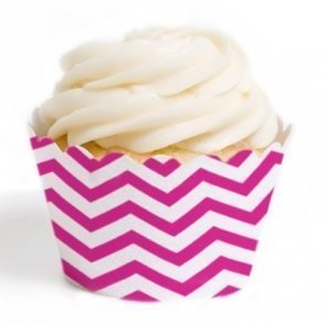 Fuchsia Chevron Cupcake Wrappers - Pack of 12