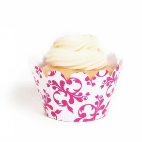 Fuchsia Filigree Mini Cupcake Wrappers - Pack of 18