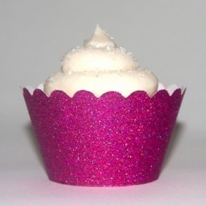 Fuchsia Glitter Cupcake Wrappers - Pack of 12