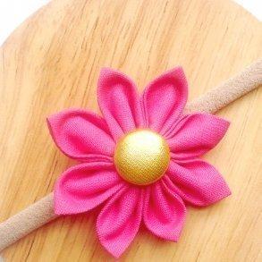 Fuchsia Pink Fabric Flower Blossom Girls Headband