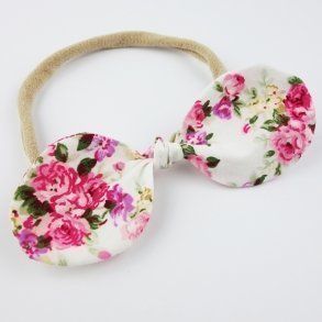 Ruby Pink Floral Baby Bow Top Knot Headband