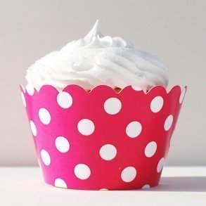 Fuchsia Polka Dot Cupcake Wrappers - Pack of 12