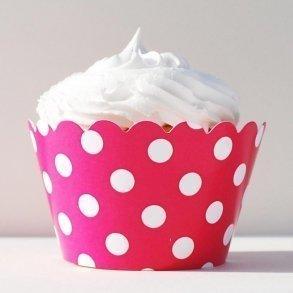 Fuchsia Polka Dot Cupcake Wrappers - Pack of 12